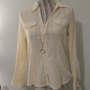 Emma James Yellow Striped Button Up Blouse